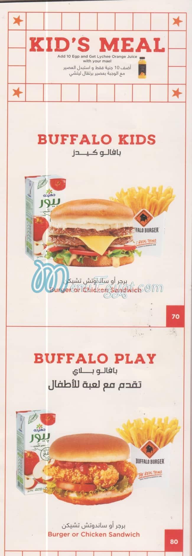 Buffalo Burger delivery menu