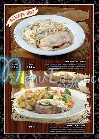 Johnny Carinos menu