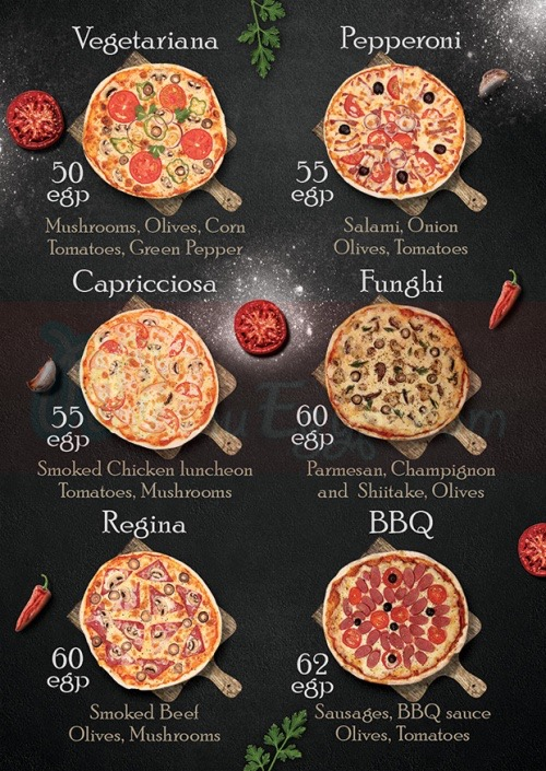 Pizza Club menu