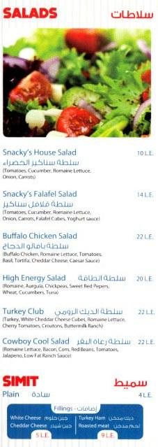 Snackys menu prices
