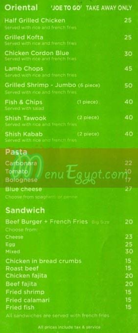 Tokyo Joes menu