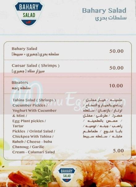 Bahary menu Egypt