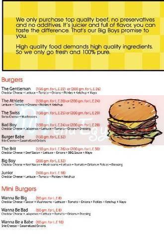 Big Boys Burger menu