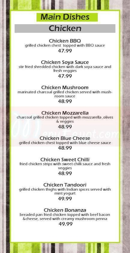 Bonanza Lounge menu