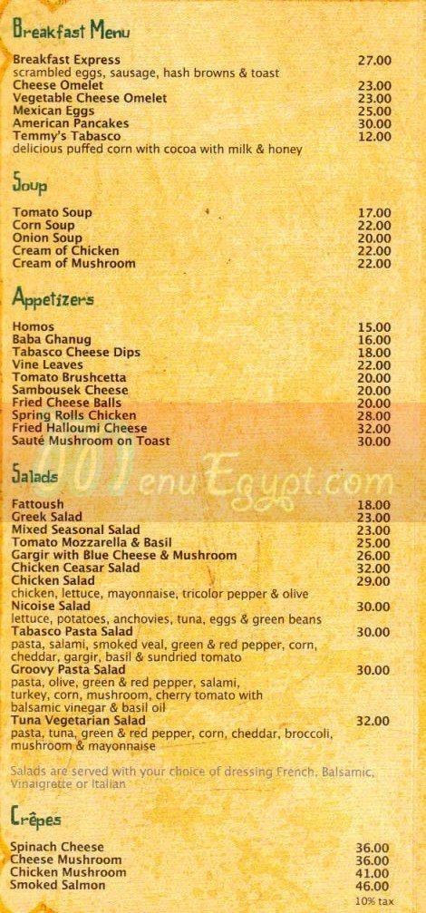 Cafe Tabasco menu