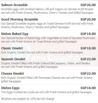 Dishes menu