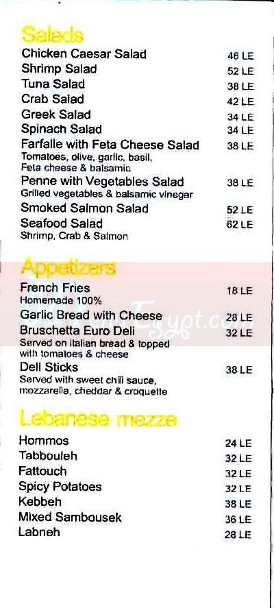 Euro Deli menu Egypt
