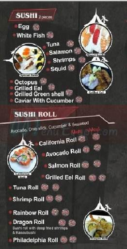 Gaya Sushi menu