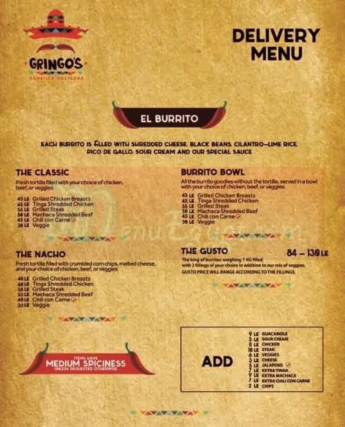 Gringos Burrito menu