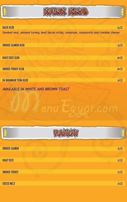Kafe Kalik menu Egypt 1