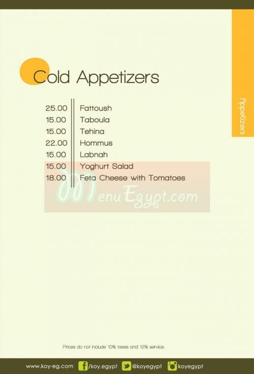 KOY Lounge&Restaurant online menu
