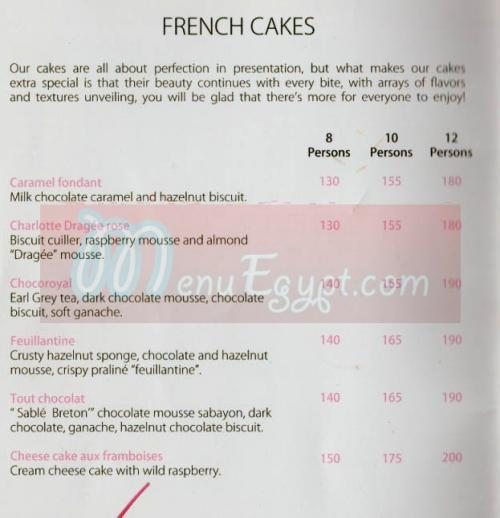 La Gourmandise menu