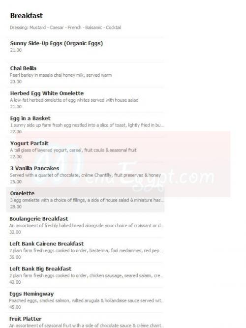 Left Bank menu