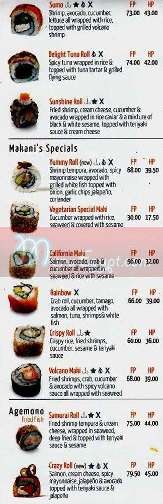 Makany online menu