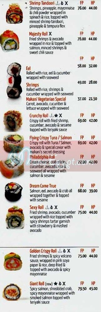 Makany menu Egypt 1