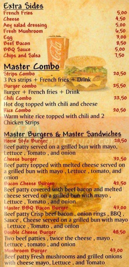 Master Burger delivery