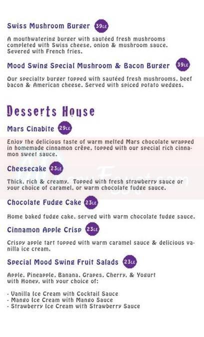 Mood Swing Restaurant & Lounge menu