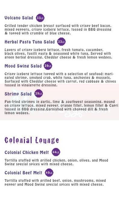 Mood Swing Restaurant & Lounge menu prices
