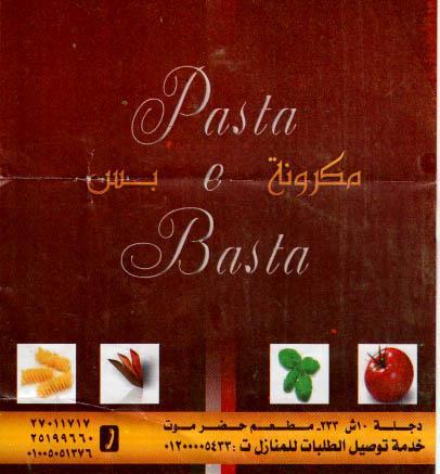 Pasta & Basta menu