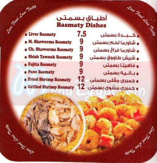 Tasty Besty menu Egypt