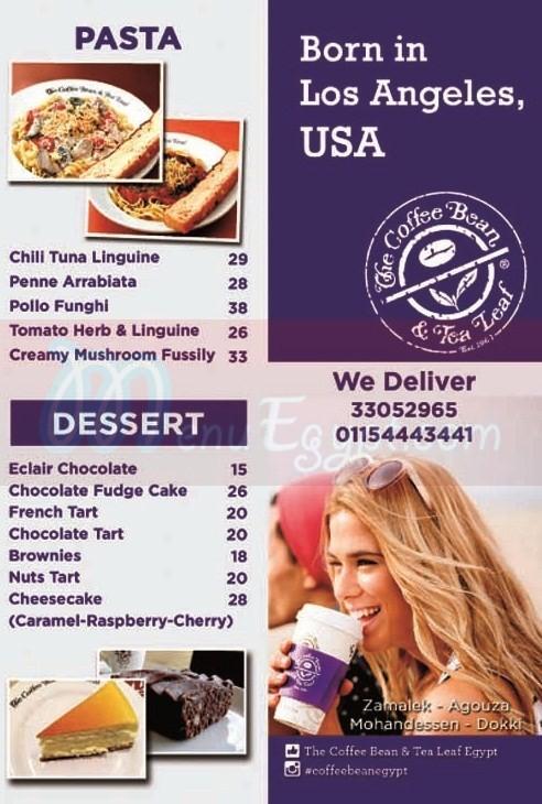 The Coffe Bean menu Egypt