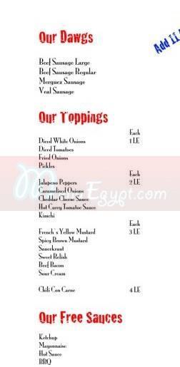 Top Dawgs menu