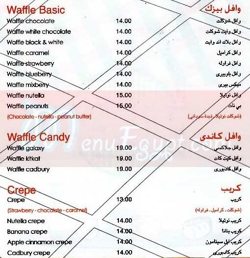 Waffle Break menu