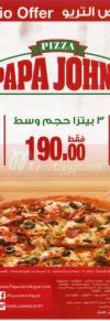 Papa Johns menu Egypt